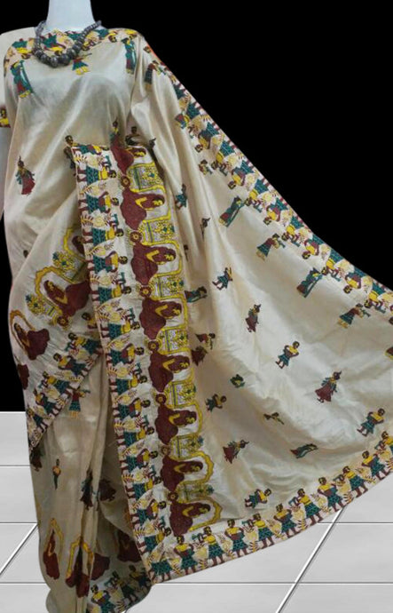 Glistening cream color Art Silk saree in ancient Egyptian embroidery