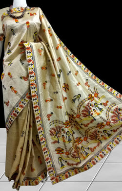 Stunning cream color art Silk handloom saree with doll embroidery work