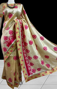Glossy cream color art Silk handloom saree
