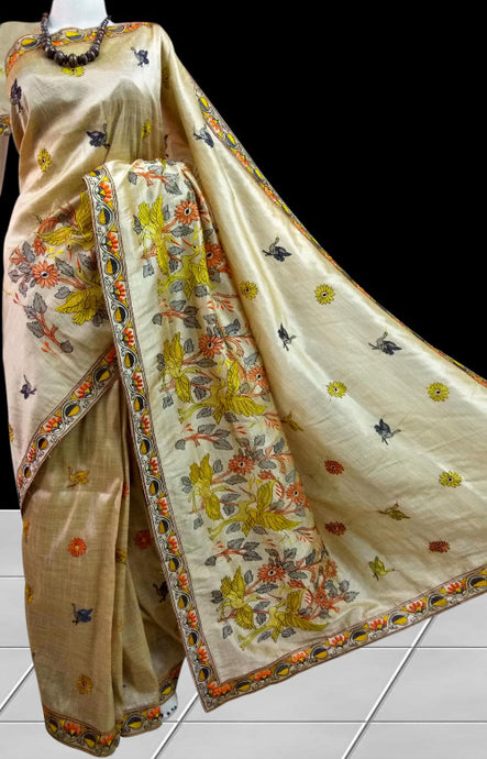 Shining color Art Silk handloom saree in heavy embroidery
