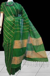 Delightful green reshams silk ghicha Saree