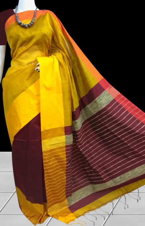 Yellow & maroon Base Mahapar silk handloom saree