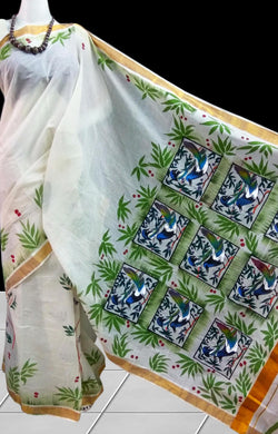 Delightful cream color kerala cotton silk handloom saree