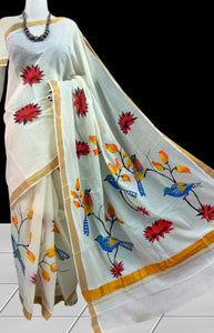 Delightful cream color Cotton silk handloom saree