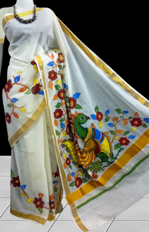 Elegant cream color kerala cotton silk handloom saree