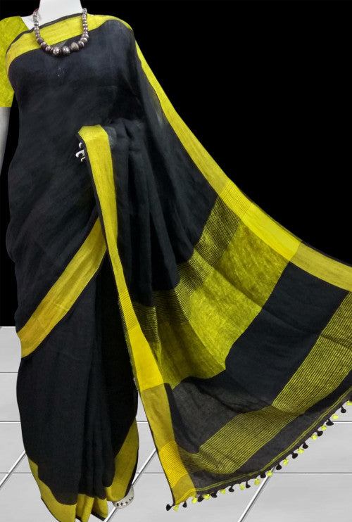 Linen Khadi Saree in black & yellow color