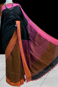 Black & Brown Linen Saree