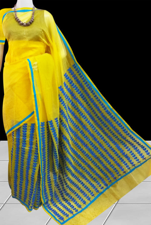 Stunning yellow super net saree with Aari work