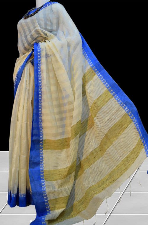 Elegant look white cotton silk saree nayal ghicha work
