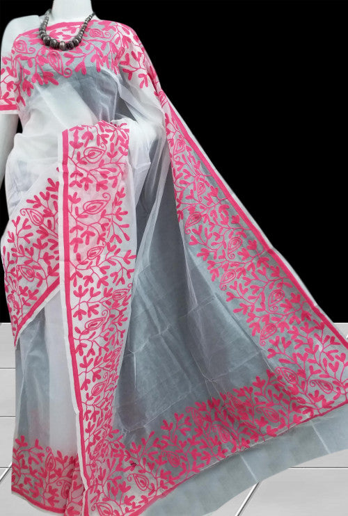 Elegant white color super net saree with Aari Work