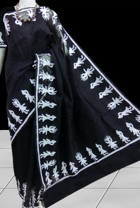 Dashing black super net saree with Aari work