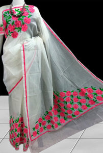 Delicate white color super net handloom saree with Aari Work
