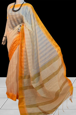 Resham silk white base with golden nayal work border ghicha Saree