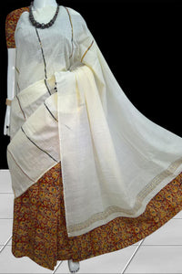 White mulmul cotton saree with khesh, traditional mixed kalamkari Work