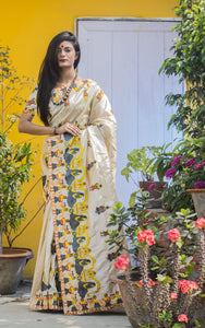Cream Art Silk saree in heavy Embroidery Work