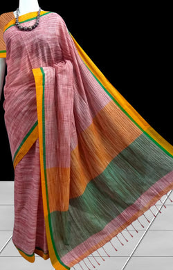 Decent mercerized cotton pink sarees