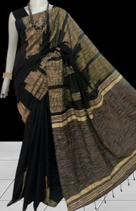 Dashing black silk cotton handloom saree with ghicha temple work