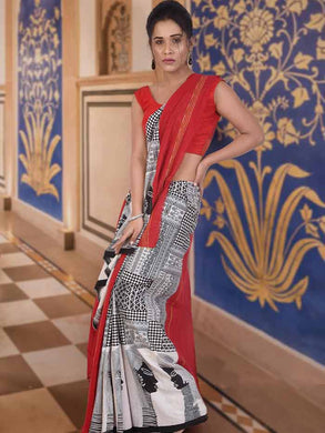 Elegant Red Half and Half soft khesh saree