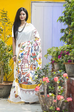 Peaceful white color Kerala cotton saree with hand painted