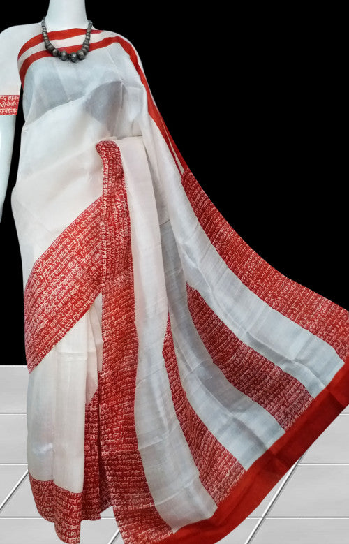 White & Red Color Sonamukhi Silk Saree With Hand Block Print