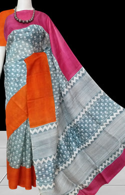 Sonamukhi Silk Saree With Floral & stripe print