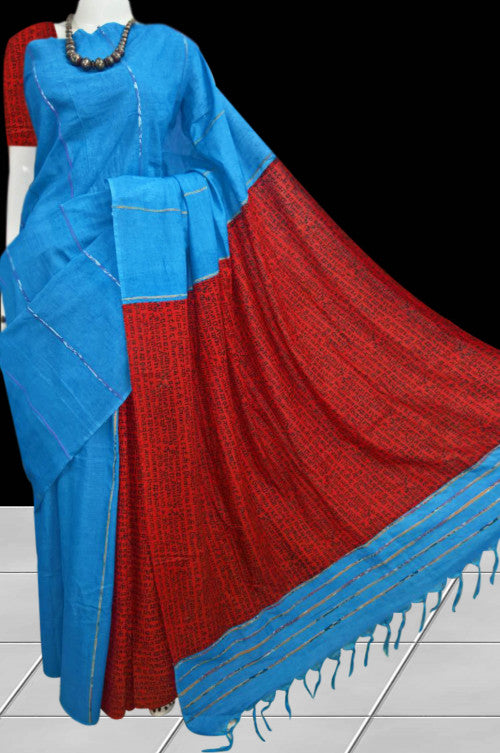 Elegant blue color mulmul cotton handloom saree with khesh