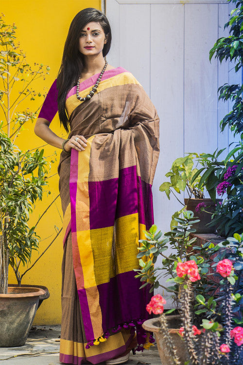 Cotton saree in a refreshing color combination