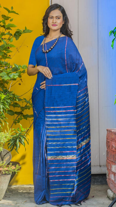 Dark Blue Colour Mulmul Cotton Handloom Khesh Saree