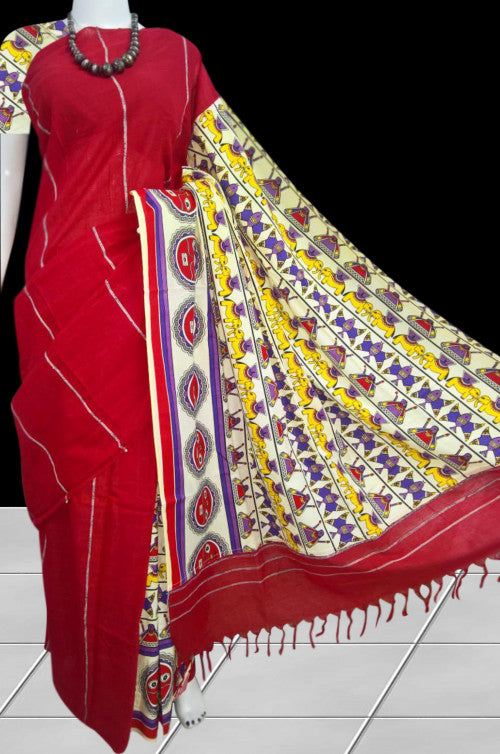 Red color mulmul khesh cotton saree
