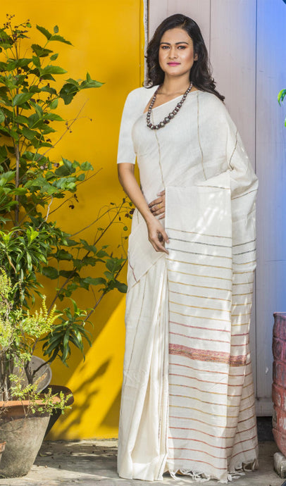 White Colour Mulmul Cotton Handloom Khesh Saree
