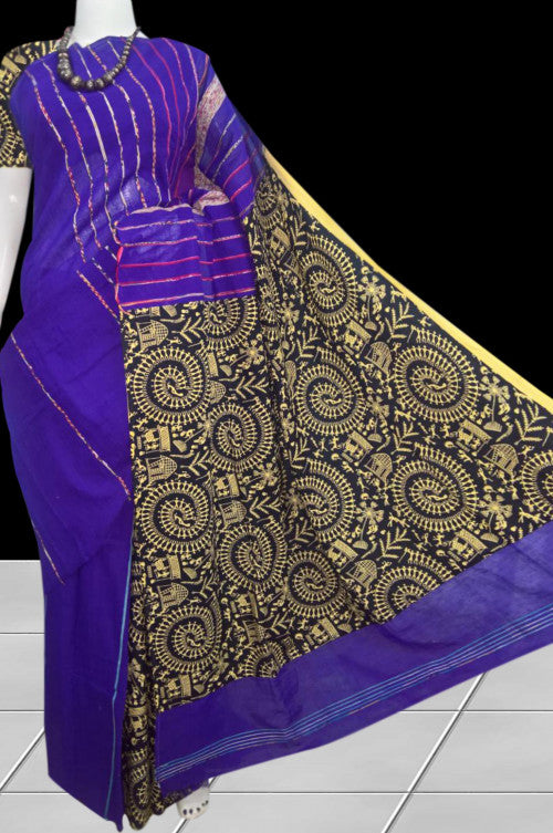 Blue color mulmul khesh cotton handloom saree