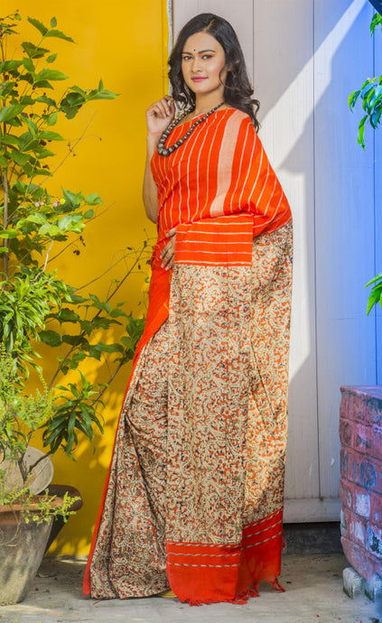 Orange color Khesh Mulmul Saree with Traditional Mixed Kalamkari Work