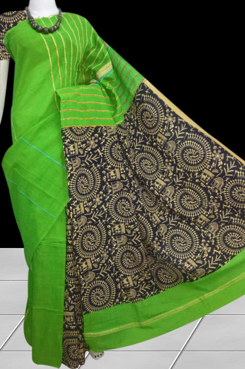 Green color mulmul khesh cotton handloom saree