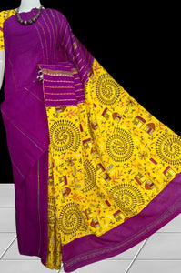 Stylish violet color mulmul cotton handloom saree with khesh