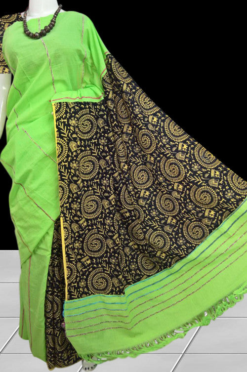 Graceful Pista green mulmul cotton handloom saree with khesh