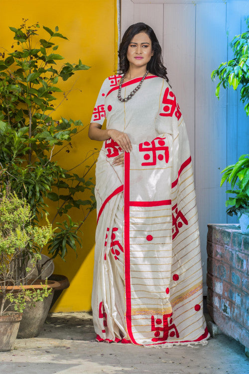 Handwoven Mulmul Cotton Khesh Saree with Applique work