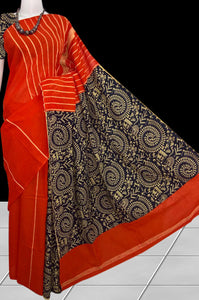 Fashionable tomato red color mulmul cotton handloom saree with khesh
