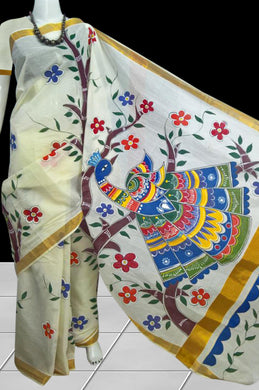 Delicate cream katan silk handloom saree