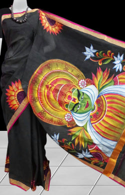 Black color Kerala cotton handloom saree with Kathakali hand paint