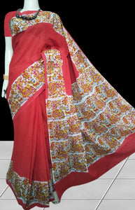 Red Color soft cotton saree with block print work