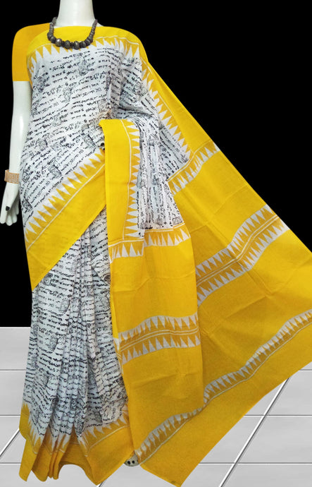 Yellow color soft cotton saree with block print work