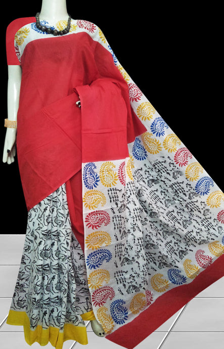 Red and white color soft cotton saree with block print work