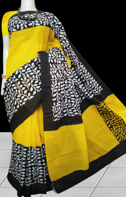 Yellow & Black color soft cotton saree with block print work