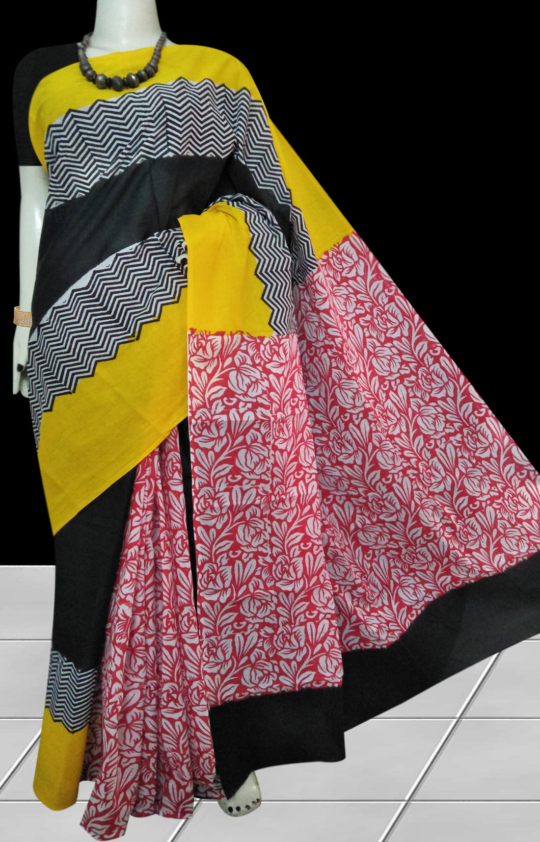 Yellow, Black & Red color soft cotton saree with block print work