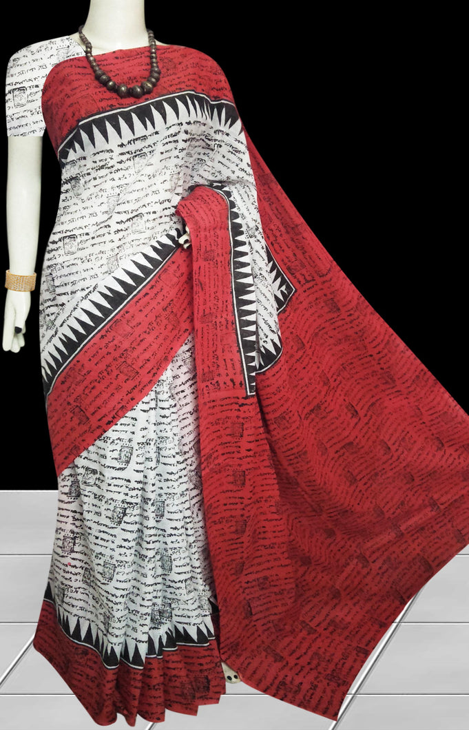 White & Red color soft cotton saree with block print work