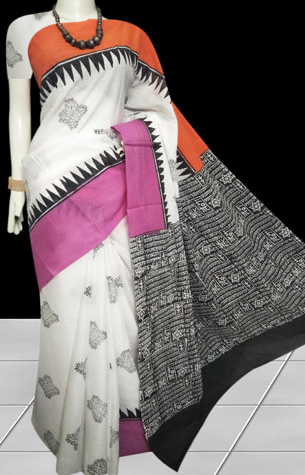 Multi color soft cotton saree with block print work