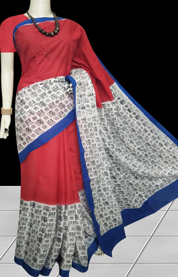 Red, White & Blue color soft cotton saree with block print work