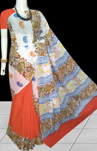 Orange & White color soft cotton saree with block print work