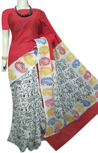 Red and white combinatio n soft cotton saree with block print work