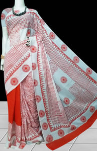 Tomato Red & White color soft cotton saree with block print work